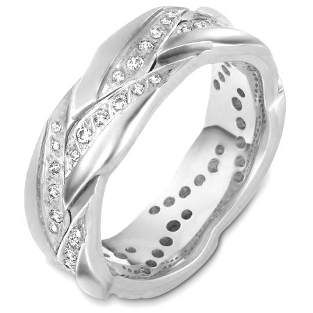 Item # A127911WE - 18 Kt White gold and diamond wedding band, 8.0 mm wide, comfort fit band. This band holds 0.50 ct tw diamonds, VS in clarity and GH in color. The finish is matte. Different finishes may be selected or specified.