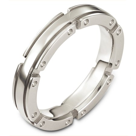 Item # A128071WE - 18 Kt white gold band, 4.5 mm wide and 3 mm thick, comfort fit band. The finish for the ring is matte. Different finishes may be selected or specified.