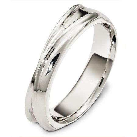 Item # A130261WE - 18 Kt White gold wedding band, 5.0 mm wide, comfort fit. The finish on the ring is polished. Different finishes may be selected or specified.