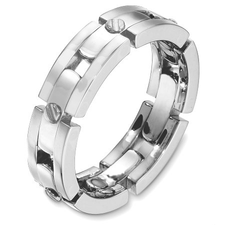 Item # A131681WE - 18 Kt White gold wedding band, 6.0 mm wide, comfort fit band. The links are flexible. The center portion of the ring is matte and the outer edges are polished. Different finshes may be selected or specified.