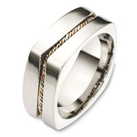 Item # A131731E - 18 Kt Tri-Color Square Wedding Band