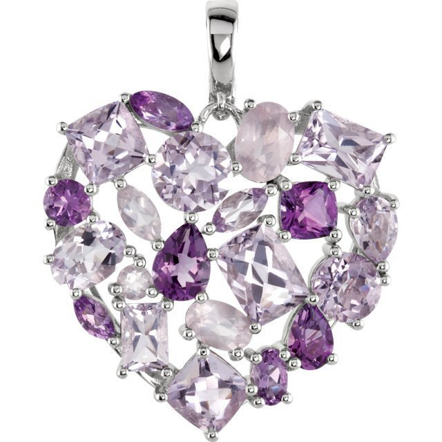 Item # A75361SI - One silver amethyst, quartz necklace with over 10.0 ct genuine gem weight.
