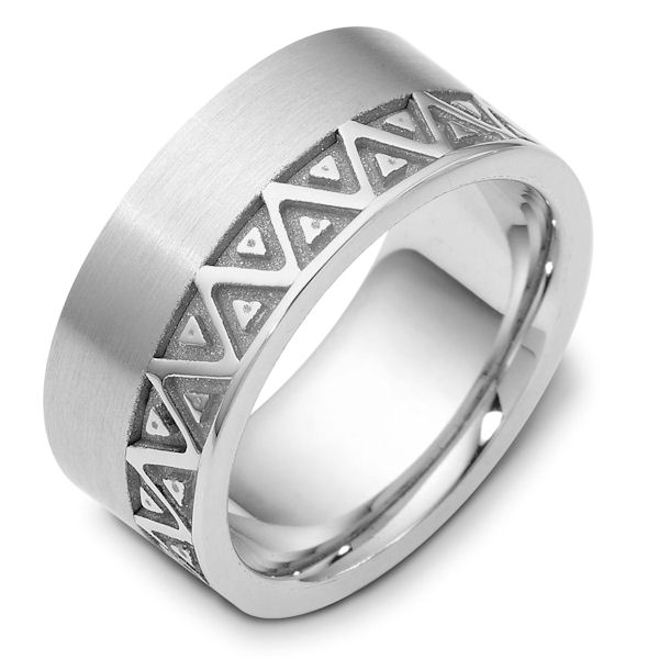 Item # B122301W - 14 K white gold, 10.0 mm wide, comfort fit, carved wedding band. The finish in the grooves are a coarse sandblast finish and the rest of the band is brushed. Different finishes may be selected or specified.