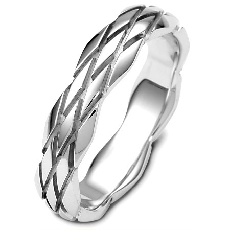 Item # B124101PD - Palladium, 5.0 mm wide, comfort fit, carved wedding band. The ring has a tire design carved all around the band. The finish is polished. Different finishes may be selected or specified.