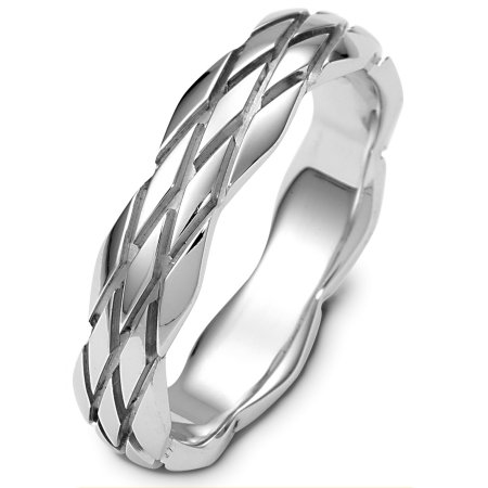 Item # B124101PP - Platinum wedding band, 5.0 mm wide, comfort fit band. The ring has a tire design carved all around the band. The finish is polished. Different finishes may be selected or specified.