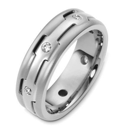 Item # B124881WE - 18 Kt White gold and diamond wedding band, 7.5 mm wide, comfort fit band. This holds 0.32 ct tw diamonds, VS1 in clarity and GH in color. The finish on the ring is matte. Different finishes may be selected or specified.
