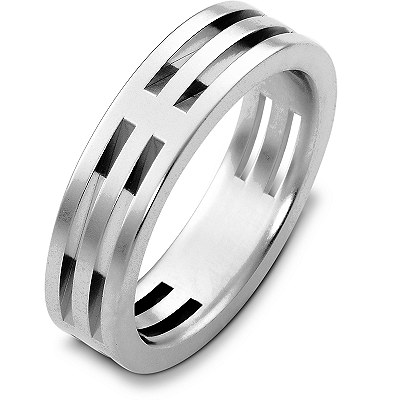 Item # B125801W - 14K white gold, 6.0 mm wide, comfort fit wedding band. The finish on the ring is matte. Different finishes may be selected or specified.
