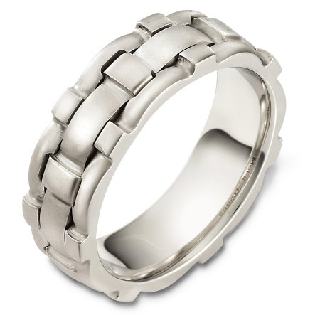 Item # B129531WE - 18 Kt White gold wedding band, 7.5 mm wide, comfort fit wedding band. The finish on the ring is matte. Different finishes may be selected or specified.