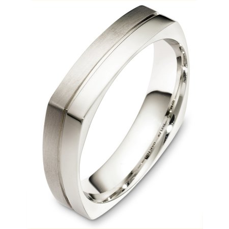 Item # B131741W - 14 Kt White gold wedding band, 5.0 mm wide, comfort fit band. The band is squared shape and the edges are rounded to give a comfort fit feel. Half the band is a matte finish and the other half is a polished finish. Different finishes may be selected or specified.