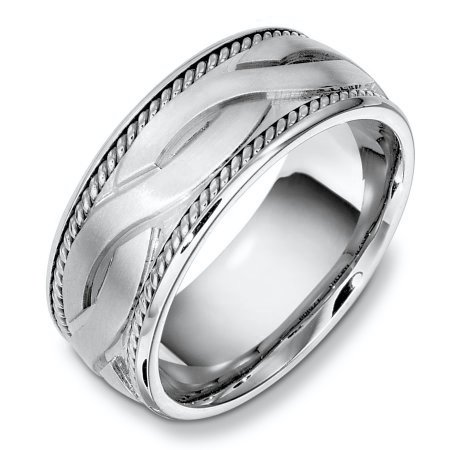 Item # B131951AG - Sterling silver,  weddding band, 9.0 mm wide, comfort fit wedding band. The ropes are 18kt white gold. The center is matte and the rest of the ring is polished. Different finishes may be selected or specified.