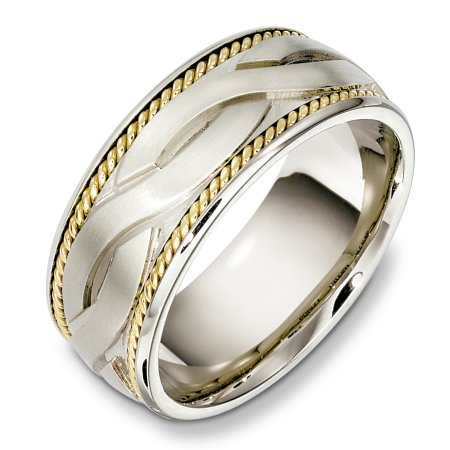 Item # B131951E - 18 Kt Two-tone weddding band, 9.0 mm wide, comfort fit wedding band. The ropes are 18kt yellow gold. The center is matte and the rest of the ring is polished. Different finishes may be selected or specified.