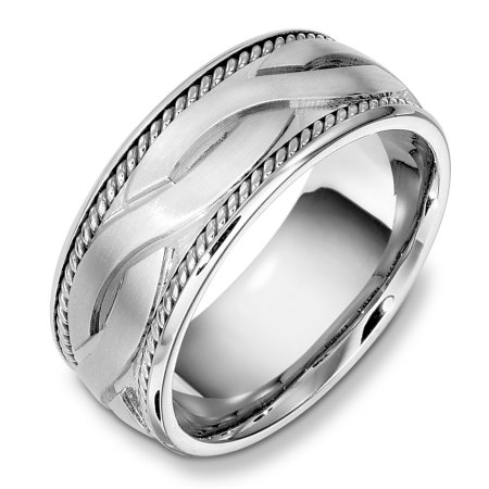 Item # B131951WE - 18 Kt White gold weddding band, 9.0 mm wide, comfort fit wedding band. The ropes are 18kt white gold. The center is matte and the rest of the ring is polished. Different finishes may be selected or specified.