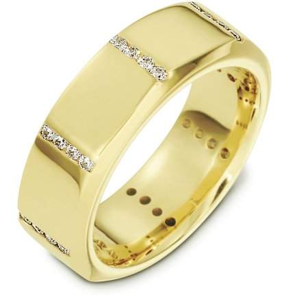 Item # B133731E - 18Kt Yellow gold and diamond wedding band, 8.0 mm wide, comfort fit band. The band is octagonal shape with diamonds set on each corner. It holds 0.35 ct tw diamonds, VS1 in clarity and GH in color. The finish is matte. Different finishes may be selected or specified.