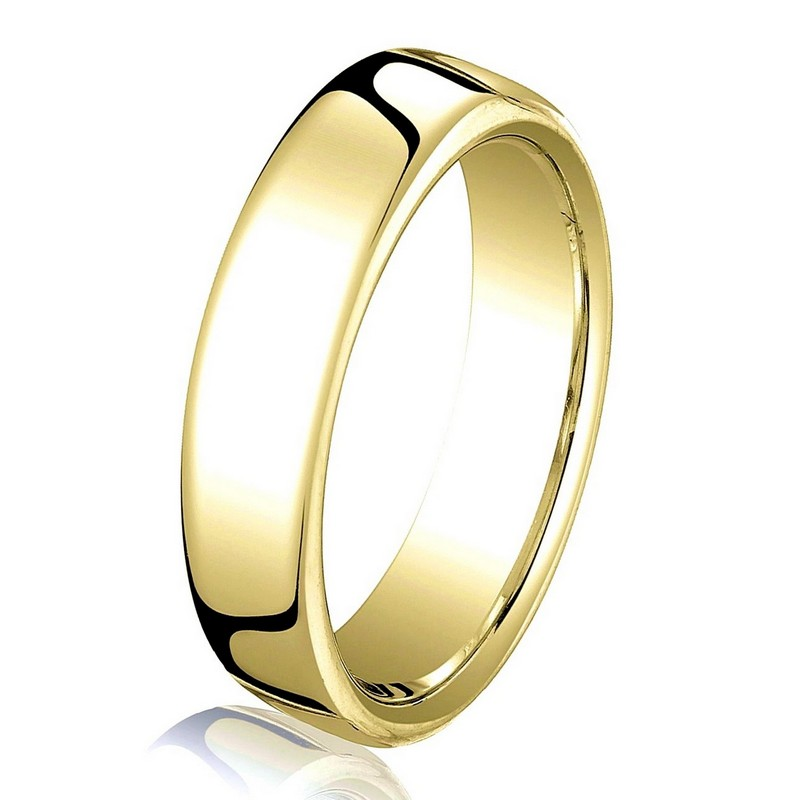 Item # B25813 - 14 kt yellow gold, plain,  comfort fit, 3.5 mm wide wedding band. The ring has a slight flat surface and comfort fit on the inside. It has a polished finish. Other finishes may be selected or specified.