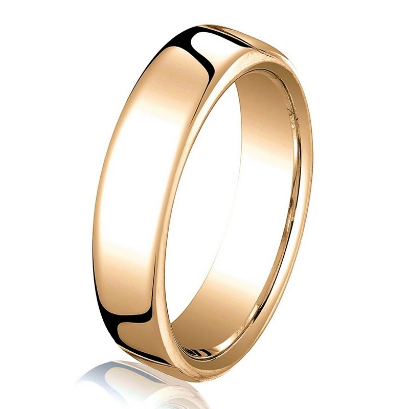 Item # B25813R - 14 kt Rose gold, plain, comfort fit, European style 3.5 mm wide wedding band. The ring has a slight flat surface and comfort fit on the inside. It has a polished finish. Other finishes may be selected or specified.