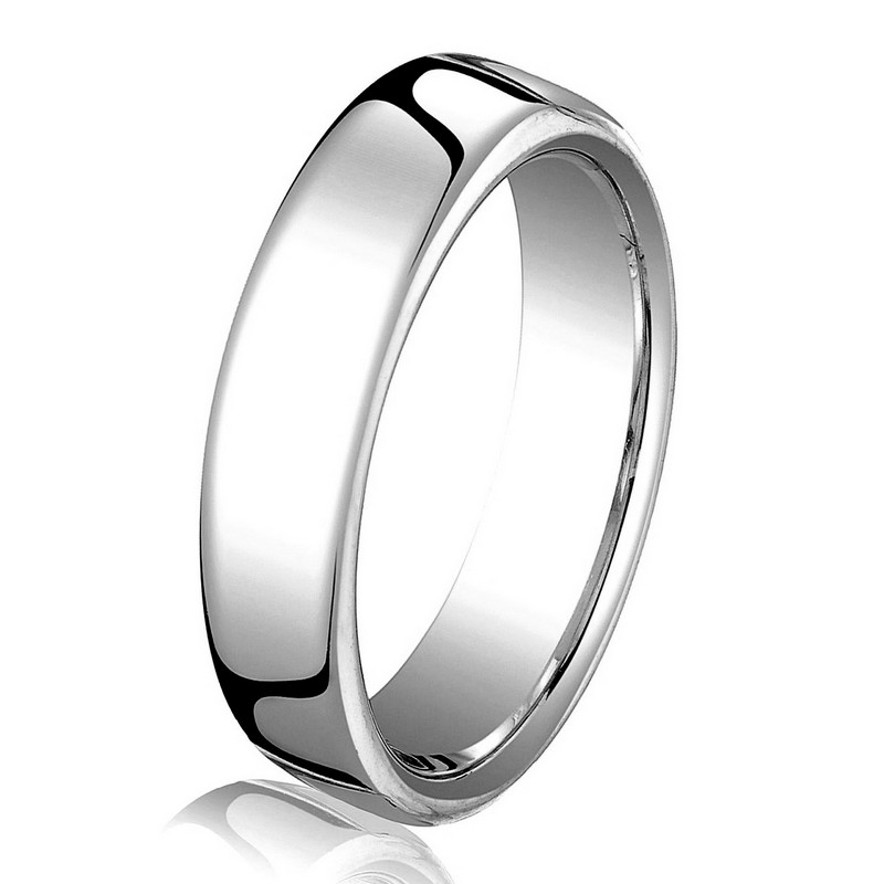 Item # B25813WE - 18 kt white gold, plain,  comfort fit, 3.5 mm wide wedding band. The ring has a slight flat surface and comfort fit on the inside. It has a polished finish. Other finishes may be selected or specified.
