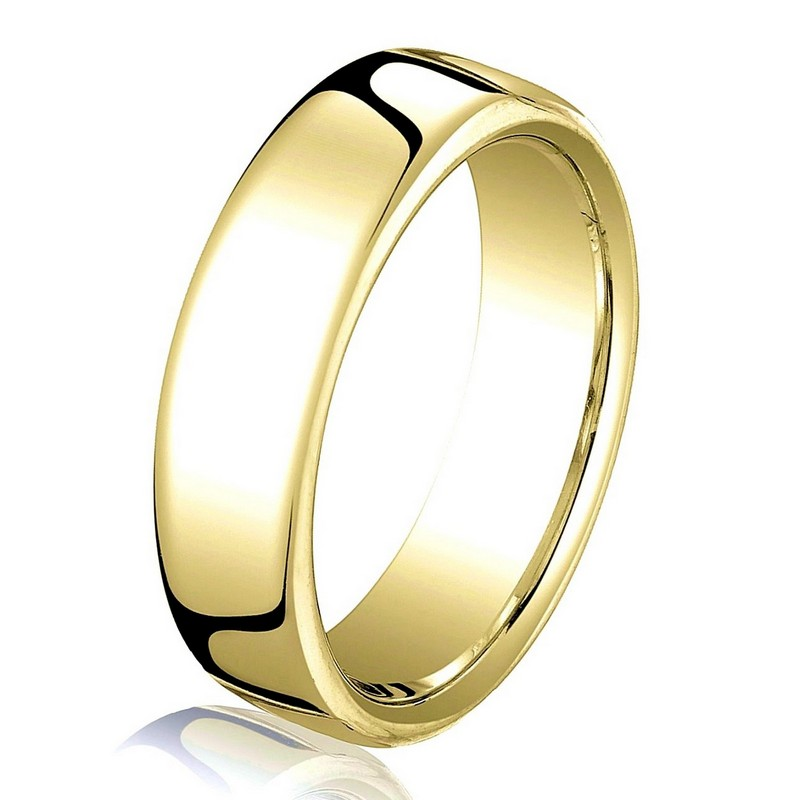 Item # B25823 - 14 kt yellow gold, plain, comfort fit  European style 4.5 mm wide wedding band. The ring has a slight flat surface and comfort fit on the inside. It has a polished finish. Other finishes may be selected or specified.