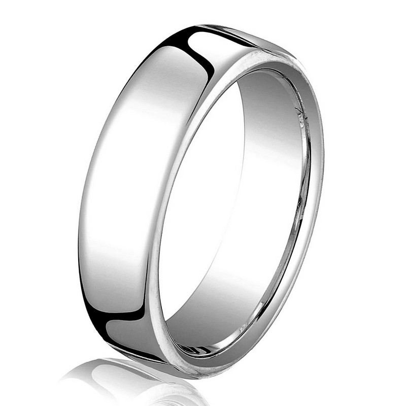 Item # B25823WE - 18 kt white gold, plain, comfort fit European style 4.5 mm wide wedding band. The ring has a slight flat surface and comfort fit on the inside. It has a polished finish. Other finishes may be selected or specified.