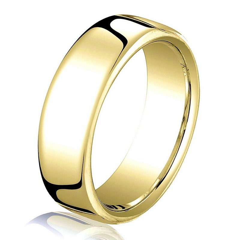 Item # B25833 - 14 kt yellow gold, plain, comfort fit European style 5.5 mm wide wedding band. The ring has a slight flat surface and comfort fit on the inside. It has a polished finish. Other finishes may be selected or specified.