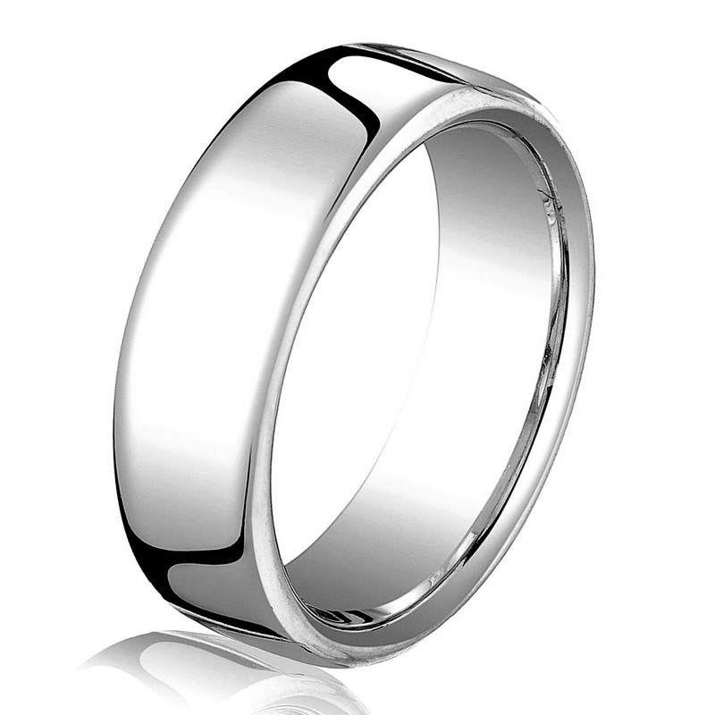Item # B25833WE - 18 kt white gold, plain, comfort fit European style 5.5 mm wide wedding band. The ring has a slight flat surface and comfort fit on the inside. It has a polished finish. Other finishes may be selected or specified.