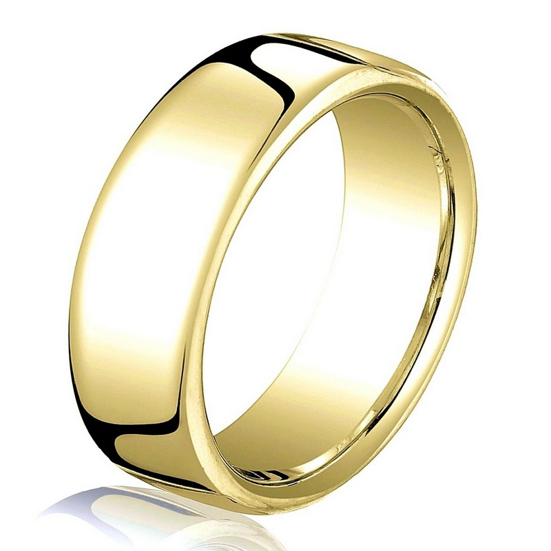 Item # B25843 - 14 kt yellow gold, plain,  comfort fit, 6.5 mm wide wedding band. The ring has a slight flat surface and comfort fit on the inside. It has a polished finish. Other finishes may be selected or specified.