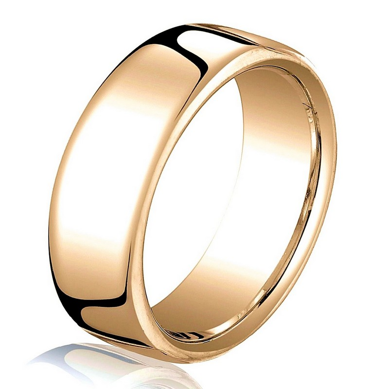 Item # B25843R - 14 kt Rose gold, plain, comfort fit, European style 6.5 mm wide wedding band. The ring has a slight flat surface and comfort fit on the inside. It has a polished finish. Other finishes may be selected or specified.