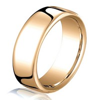 Item # B25843R - 14K Rose Gold 6.5mm Comfort Fit Wedding Band