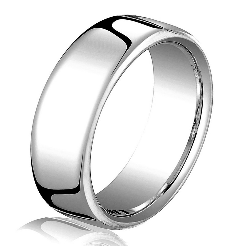 Item # B25843W - 14 kt white gold, plain, comfort fit, 6.5 mm wide wedding band. The ring has a slight flat surface and comfort fit on the inside. It has a polished finish. Other finishes may be selected or specified.