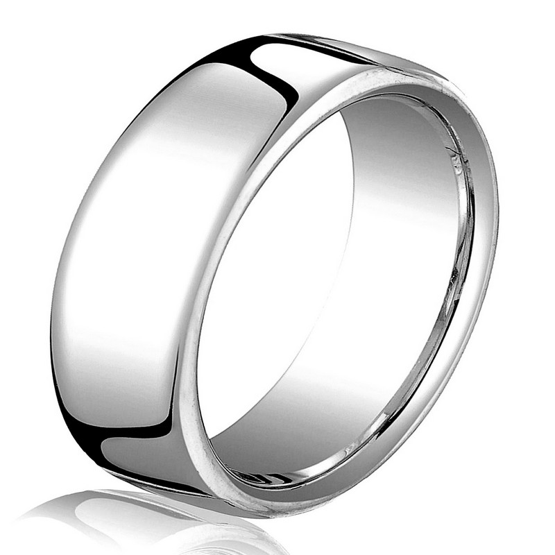 Item # B25853W - 14 kt white gold, plain,  comfort fit, 7.5 mm wide wedding band. The ring has a slight flat surface and comfort fit on the inside. It has a polished finish. Other finishes may be selected or specified.