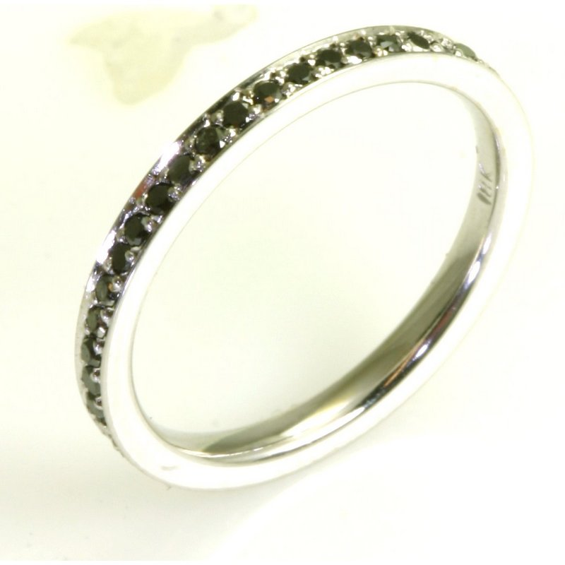 Item # BD212101W - 14Kt White gold black diamond eternity ring. The ring has a black diamonds with total weight of 0.50ct in size 6.0. The ring is polished. Different finishes may be selected or specified.