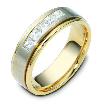 Item # C115681E - 18K two-tone 6.5 mm wide, 0.60 ct total weight, diamond ring. Diamonds are VS1 in Clarity G-H in color. The center finish is brushed and the outer edges are polished. Different finishes may be selected or specified.