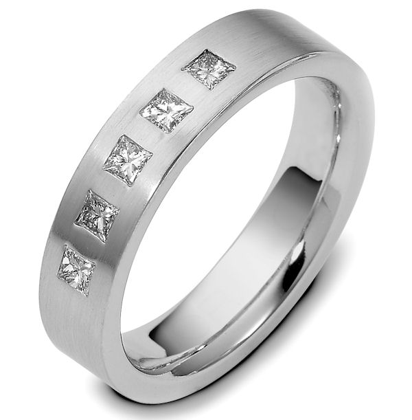 Item # C116581WE - 18 kt white gold 5.5 mm. wide, comfort fit, princess cut diamond ring. Diamonds total weight is 0.50 ct in size. Diamonds are VS1-2 in clarity G-H in color. The finish on the ring is brushed. Different finishes may be selected or specified.