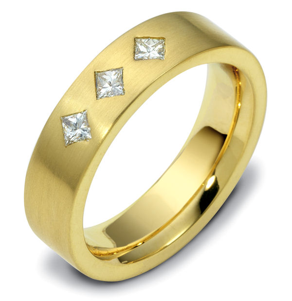 Item # C116611 - 14K yellow gold, comfort fit 5.5 mm wide diamond ring. Diamond total weight is 0.30 ct, diamonds are VS1 in clarity G in color. The finish on the ring is brushed. Different finishes may be selected or specified.