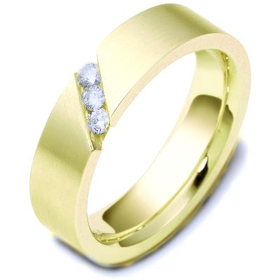 Item # C116681E - 18K yellow gold comfort fit, 6.0 mm wide, diamond ring. Diamond weighs 0.15 ct tw and graded as VS1 in Clarity G in Color. The finish on the ring is brushed. Different finishes may be selected or specified.