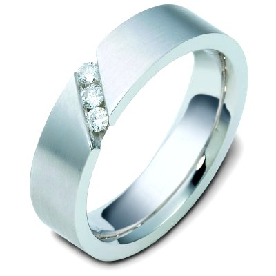 Item # C116681PD - Palladium, comfort fit, 6.0 mm wide, diamond ring. Diamond weighs 0.15 ct tw and graded as VS1 in Clarity G in Color. The finish on the ring is brushed. Different finishes may be selected or specified.