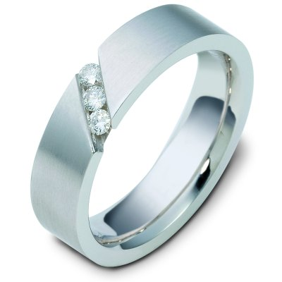 Item # C116681W - 14K white gold comfort fit, 6.0 mm wide, diamond ring. Diamond weighs 0.15 ct tw and graded as VS1 in Clarity G in Color. The finish on the ring is brushed. Different finishes may be selected or specified.