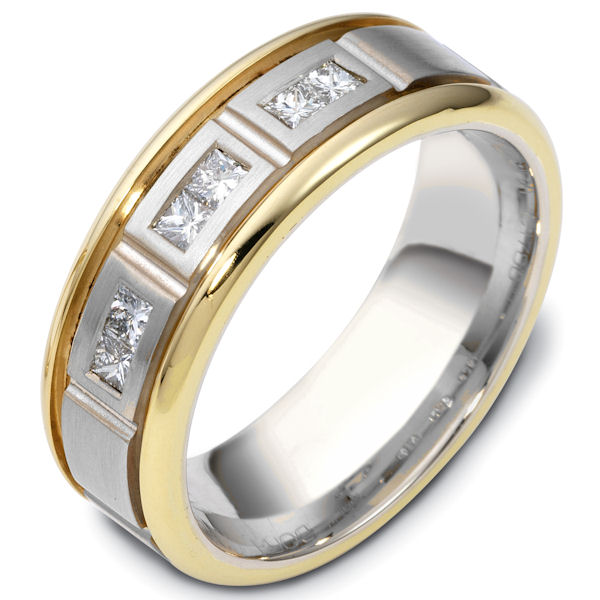 Item # C117861E - 18 Two-Tone, 7.5 mm wide diamond wedding ring. Diamond total weight is 0.30 ct. VS1 in clarity G in color. The center of the ring is brushed and the outer edges are polished. Different finishes may be selected or specified.