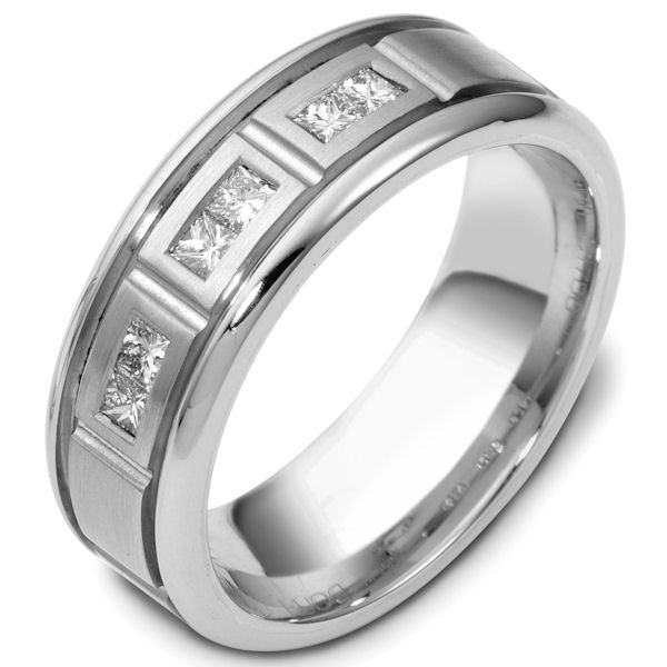 Item # C117861WE - 18 kt white gold, 7.5 mm wide diamond wedding ring. Diamond total weight is 0.30 ct. VS1 in clarity G in color. The center of the ring is brushed and the outer edges are polished. Different finishes may be selected or specified.