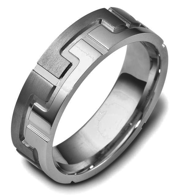 Item # C117871TI - Titanium contemporary carved, comfort fit, 6.5mm wide wedding band. The ring is carved with a mix of matte and polish finish. It is 6.5mm wide and comfort fit. Different finishes may be selected or specified.
