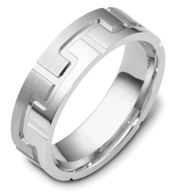 Item # C117871WE - 18kt White gold contemporary carved, comfort fit, 6.5mm wide wedding band. The ring is carved with a mix of matte and polish finish. It is 6.5mm wide and comfort fit. Different finishes may be selected or specified.