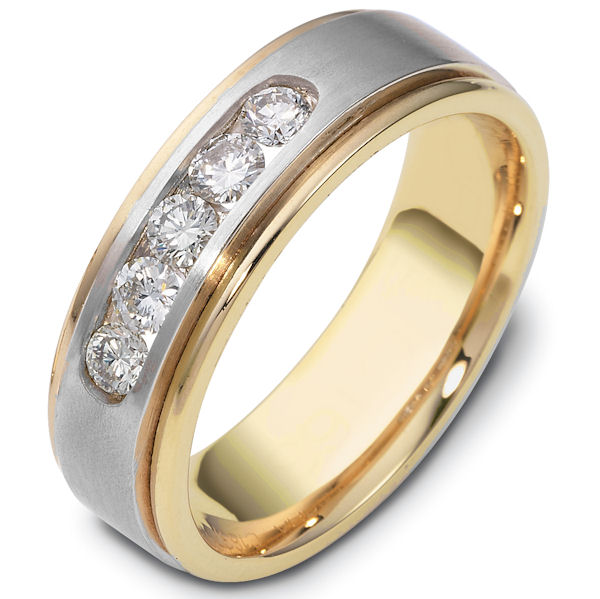 Item # C118371E - 18K two-tone, comfort fit, 7.0 mm wide diamond wedding band. Diamonds total weight is approximately 0.50 ct. The diamonds are graded as VS in clarity G-H in color. The finish in the center is matte and the outer edges are polished. Different finishes may be selected or specified.