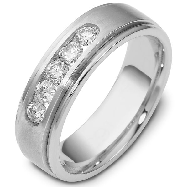 Item # C118371WE - 18Kwhite gold,, comfort fit, 7.0 mm wide diamond wedding band. Diamonds total weight is approximately 0.50ct. The diamonds are graded as VS in clarity G-H in color. The finish in the center is matte and the outer edges are polished. Different finishes may be selected or specified.