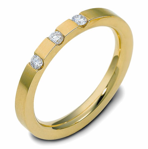 Item # C118851E - 18K yellow gold, 2.5 mm wide, comfort fit, diamond wedding band.Diamonds are 0.12 ct tw and VS in clarity G-H in color. The finish is polished. Different finishes may be selected or specified.