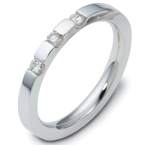 Item # C118851PD - Palladium, comfort fit, 2.5 mm wide diamond wedding band. Three diamonds, with a total weight of 0.12 ct and are graded as VS in clarity G-H in color. The finish is polished. Different finishes may be selected or specified.