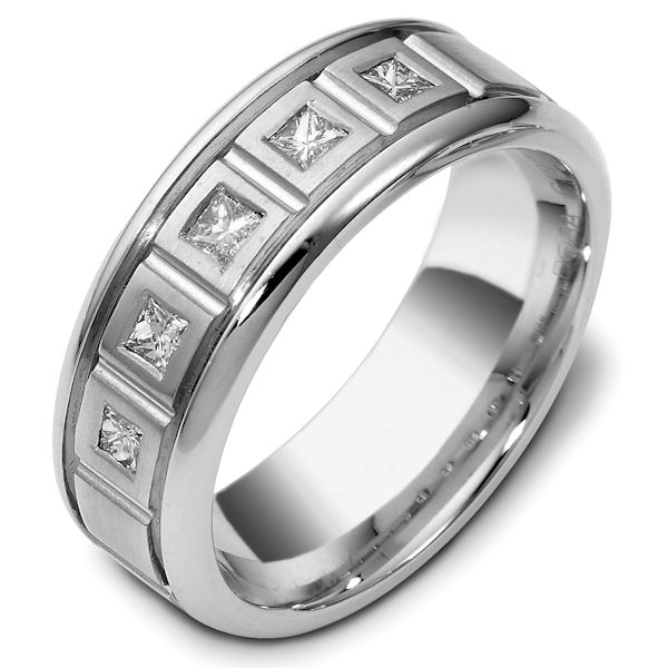 Item # C119271W - 14 K white gold 8.0 mm wide, comfort fit, 0.35 ct total weight princess cut diamond ring. Diamonds are VS1 in Clarity G in Color. The finish in the center is matte and the outer edges are polished. Different finishes may be selected or specified.