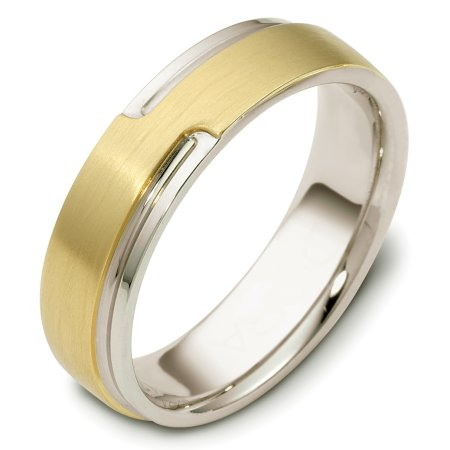 Item # C120521E - 18 Kt Two-tone wedding band, 6.0 mm wide, comfort fit wedding band. The band can be made with the gold colors reversed. Please request this in the comment section. The raised portion of the ring is a brushed finish and the rest is polished. Different finishes may be selected or specified.