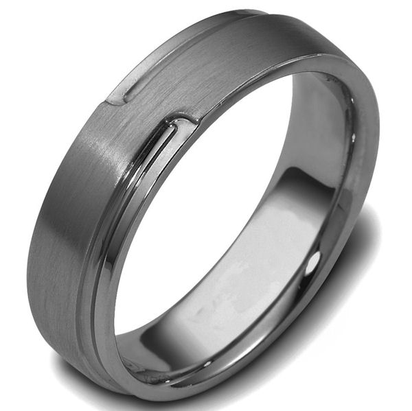 Item # C120521TI - Titanium, carved, comfort fit 6.0 mm wide wedding band. The raised portion of the ring is brushed finish and the other part is polished.. Other finishes may be selected or specified.