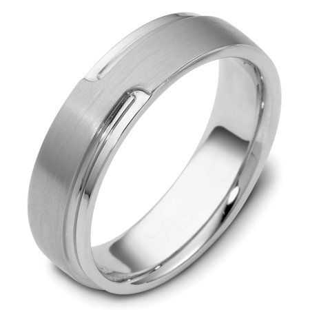 Item # C120521WE - 18 Kt White gold wedding band, 6.0 mm wide, comfort fit wedding band. The raised portion of the ring is a brushed finish and the rest is polished. Different finishes may be selected or specified.