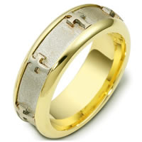 Item # C120951E - 18 Kt Two-Tone Cross Wedding Band