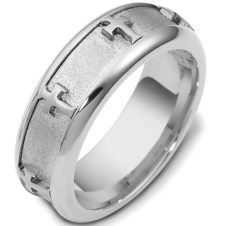 Item # C120951W - 14 Kt White gold wedding band, 7.0 mm wide, comfort fit band. The band has crosses all the way around the center spinning band. The center of the ring is a coarse sandblast finish and the outer edges are polished. Different finishes may be selected or specified.